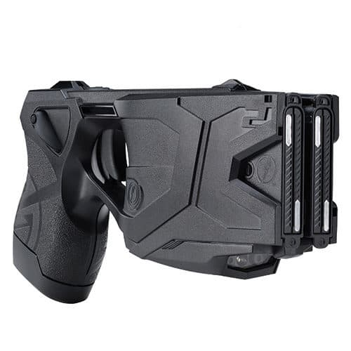 Right View Taser X2 Defender Kit Black with Laser In Holster