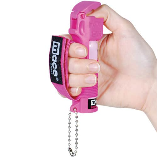 Mace® Pepper Spray Jogger – Pink Sport Model View Flip Top In Hand