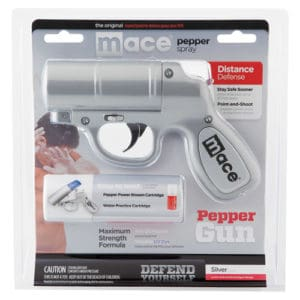 Mace® Pepper Gun Silver Side View In Package
