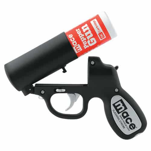 Mace®Pepper Gun with STROBE LED Black Open Top With Canister
